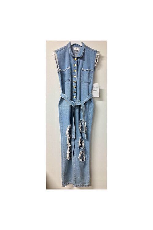 Distressed Sleeveless Denim Jumpsuit