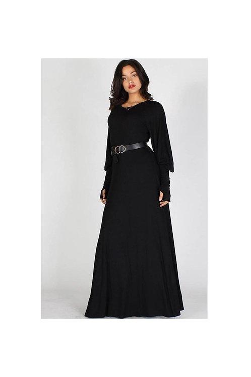 Solid Cuff Sleeve Maxi Dress