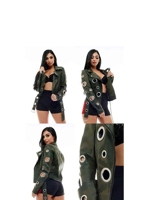 Camouflage Chrome Hole Faux Leather Jacket