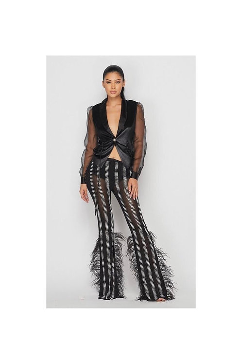 Rhinestone Feather Mesh Pants Set
