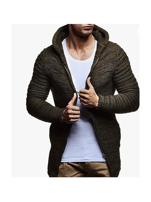 Knit Hooded Zip Cardigan
