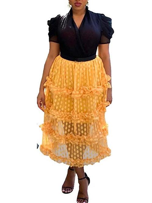 Polka Dot Mesh Tiered Skirt