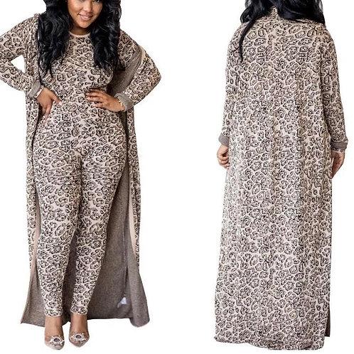 Leopard Jumpsuit/Cardigan Set