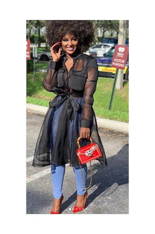 Sheer Net Ruffled Waist Tie Dress/Jacket