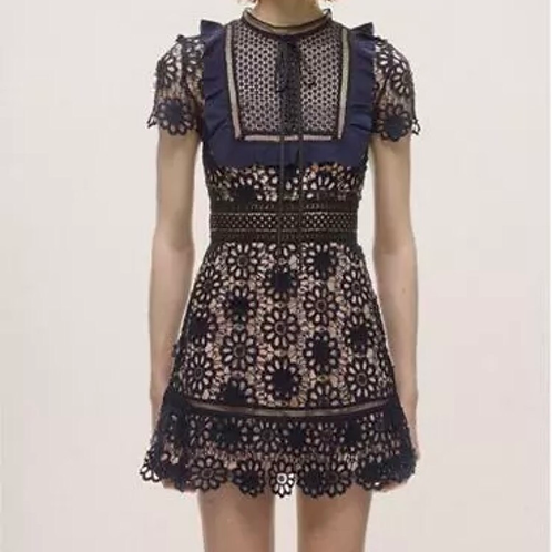 Blue Crochet A-Line Dress
