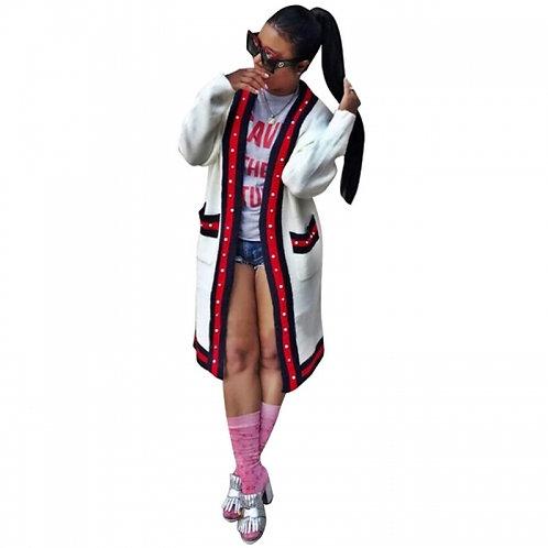 Gucci Inspired Pearl Trim Cardigan Jacket