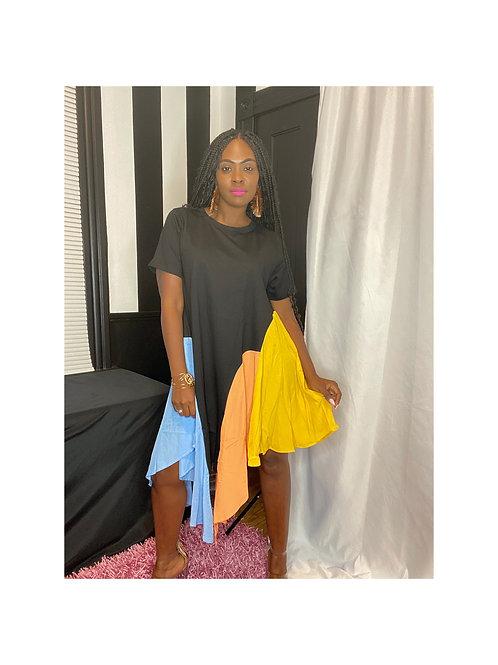 Ruffle Color Block Tshirt Dress