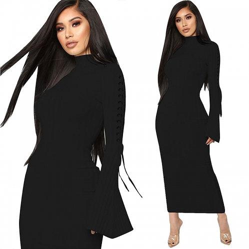 Turtleneck Flare Sleeve Maxi Dress
