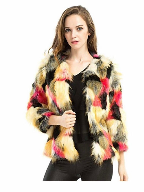 Faux Fur Multicolor Coat