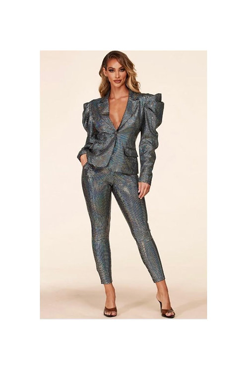 Disco Ball Puff Shoulder Blazer Set