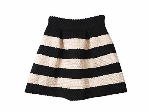 Wide Striped High Waist Elastic Flare Mini Tutu Skirt