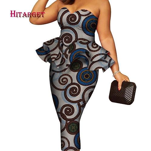 African Tube Peplum Dress