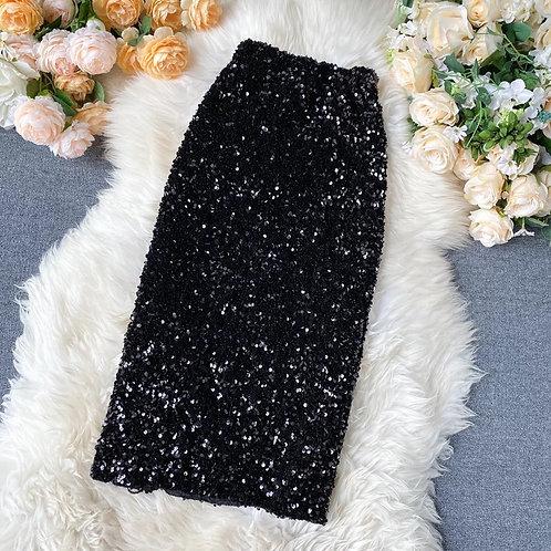 High Waist Sequins Knee Skirt