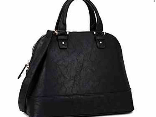 Faux Leather Dome Zip-Around Satchel