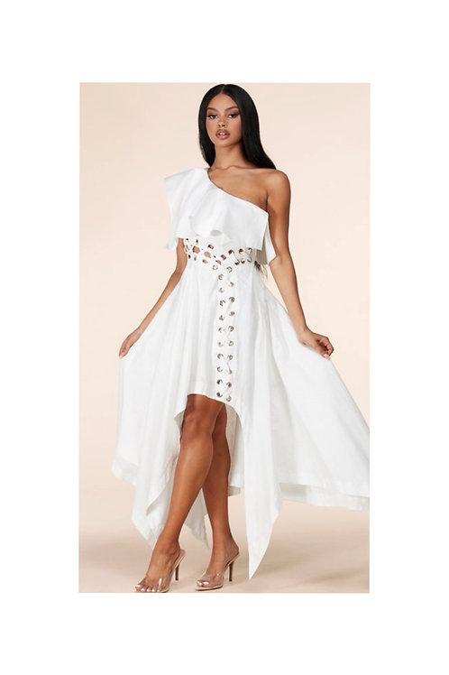 Grommets Flounce Handkerchief Dress