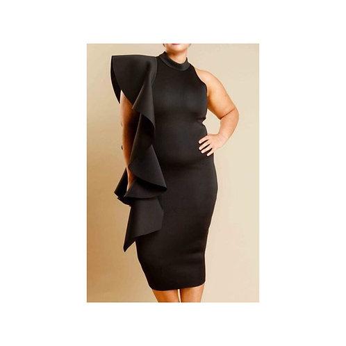 Plus Size Sude Ruffle Dress