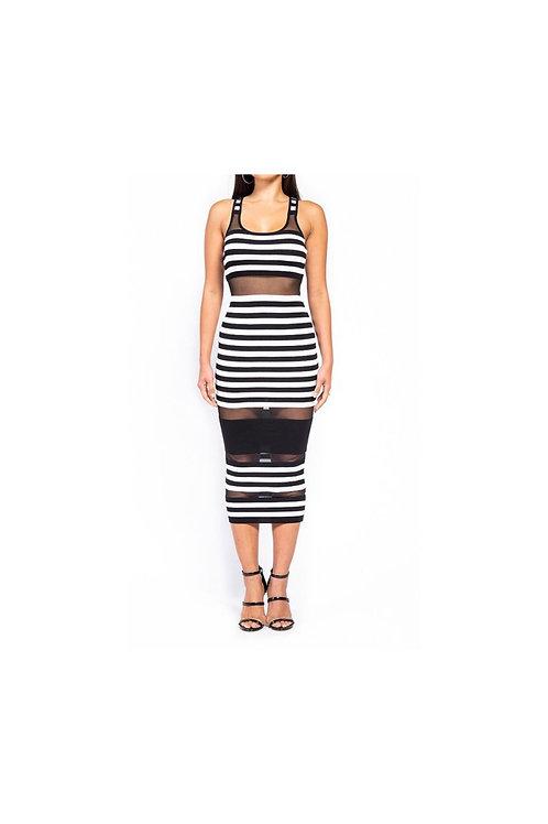 Sleeveless Striped Mesh Dress