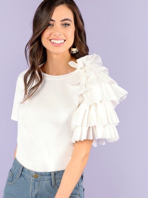 Layered Ruffle Trim Tee