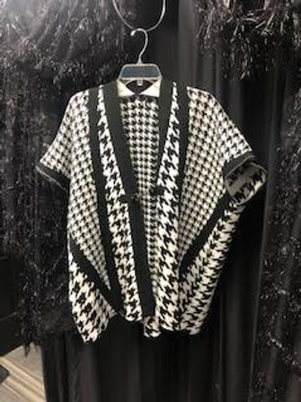 Houndstooth Buckle Poncho