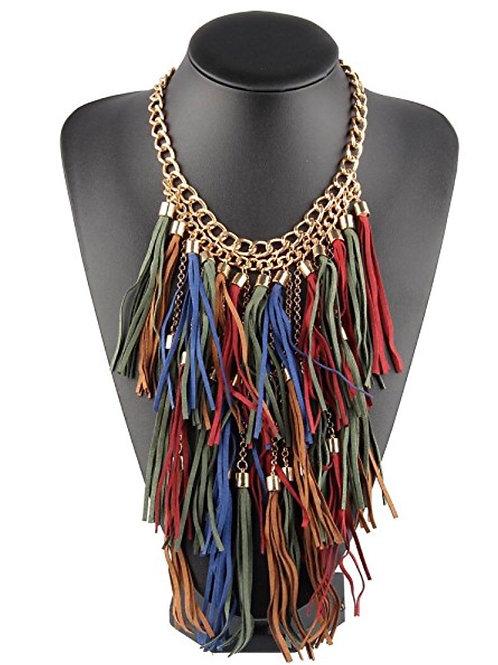 Colorful Tassel Fringe Statement Necklace