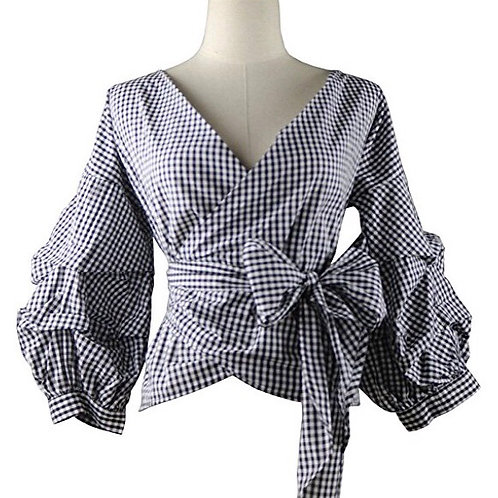 Plaid Gingham Puff Sleeve Shirt