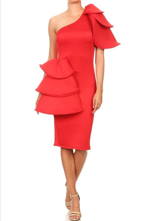Ruffle One Shoulder Bodycon Dress