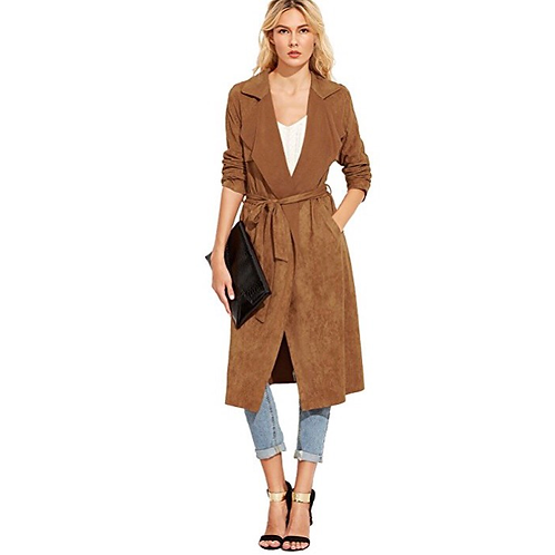 Suede Trench Cardigan