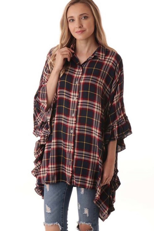 Oversized Plaid Ruffle Top
