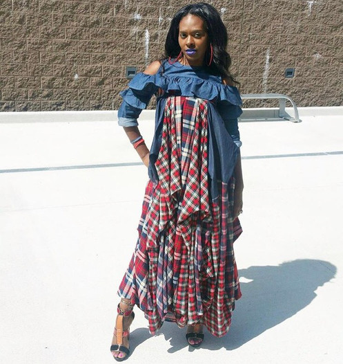 1599173fd1 Red Plaid Denim Flowing Maxi Skirt