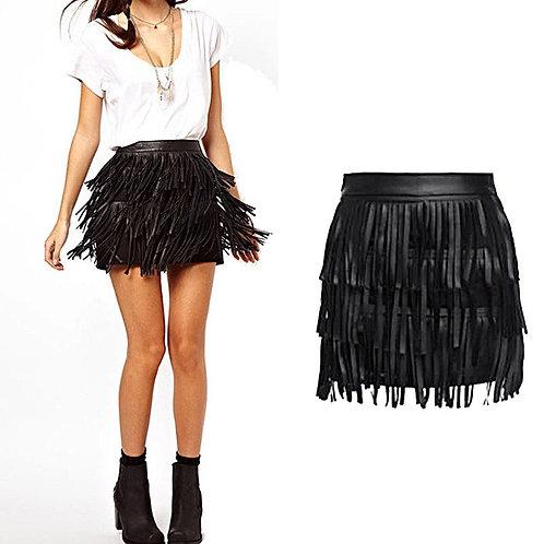 Leather Fringe Tassel Skirt