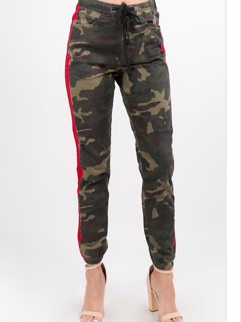 Camouflage Red Stripe Joggers