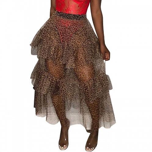 Leopard Tulle Tiered Skirt