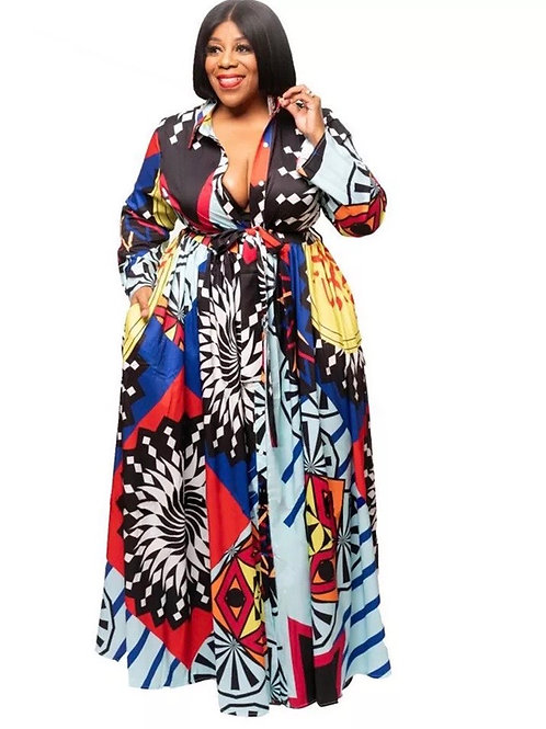 Geometric Print Long Maxi Dress