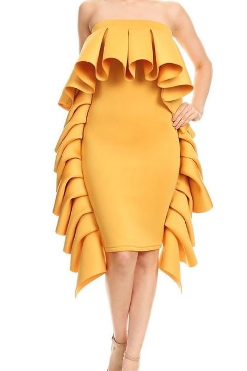 Strapless Ruffle Trim Tube Dress