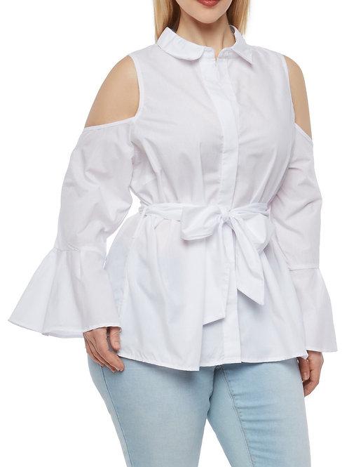 Belted Cold Shoulder Top