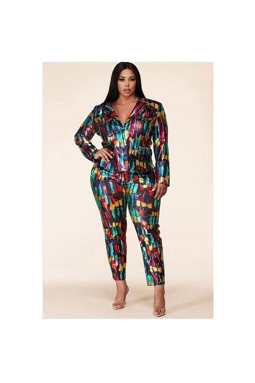 Sequins Metallic Pants Suit