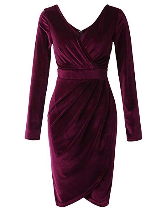 Velvet Faux Wrap Dress
