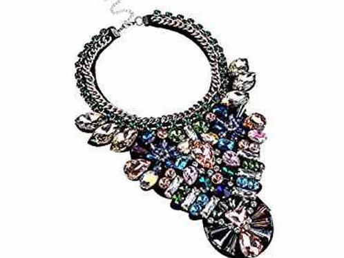 Shiny Chain Colorful Glass Statement Necklace