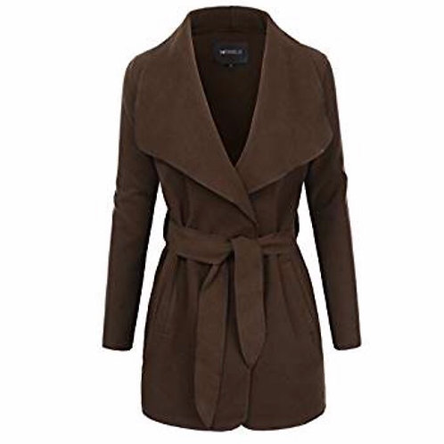Womens Shawl Collar Layered Wrap Coat With Sash-Tie