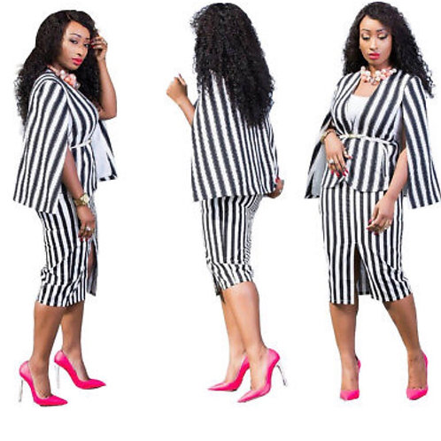 Stripe Cape Skirt Set