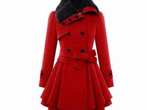 Faux Fur Wool Double Breast Coat