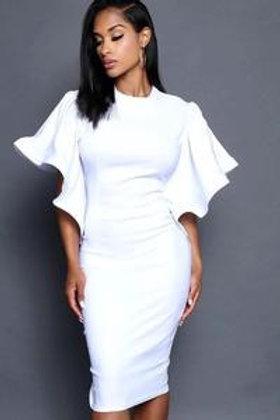 Bodycon Round Ruffle Sleeve Dress