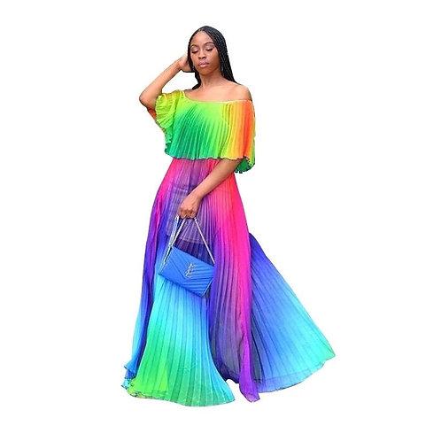 Rainbow Bright Off Shoulder Maxi Dress