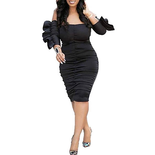 Ruched Strapless Ruffle Dress