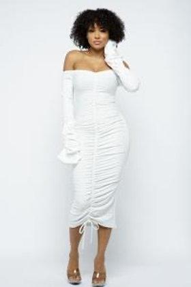 Off Shoulder Ribbed Ruched Dress