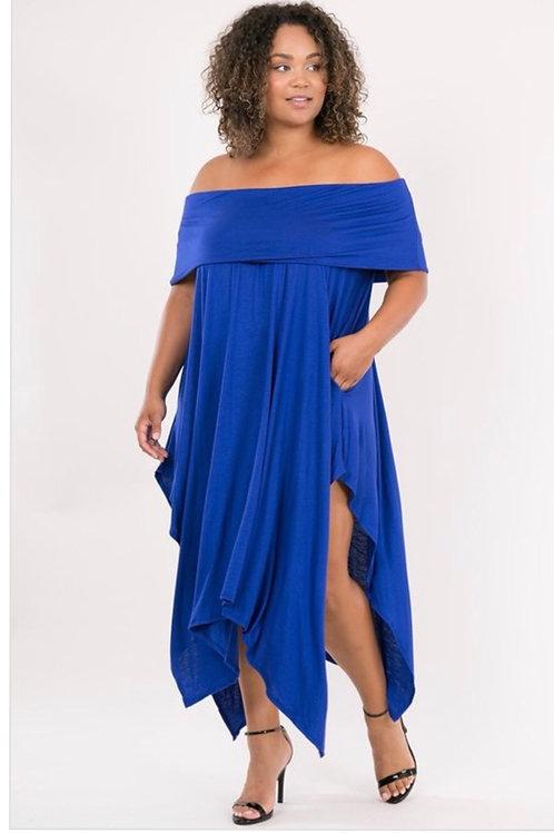 Blue Handkerchief Off Shoulder Dress