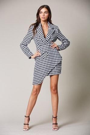 Houndstooth Asymmetrical Dress