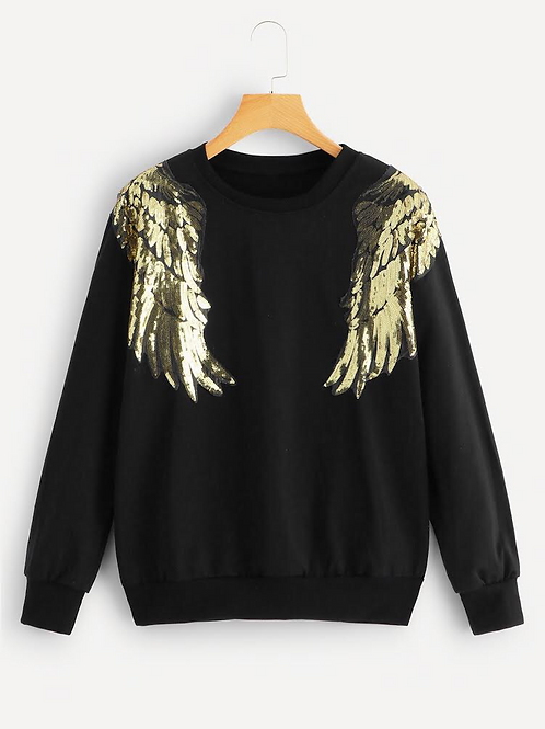 Angel Wing Sequins Shirt