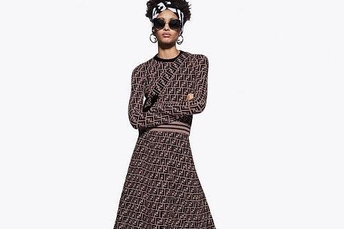 Fendi Inspired Skater Skirt Set