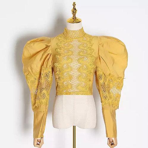 Elegant Lace Puff Shoulder Blouse